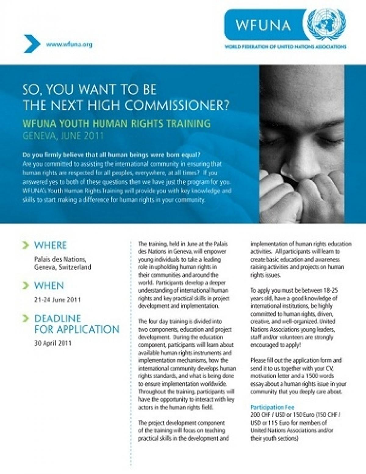 WFUNA Human Rights Youth Training