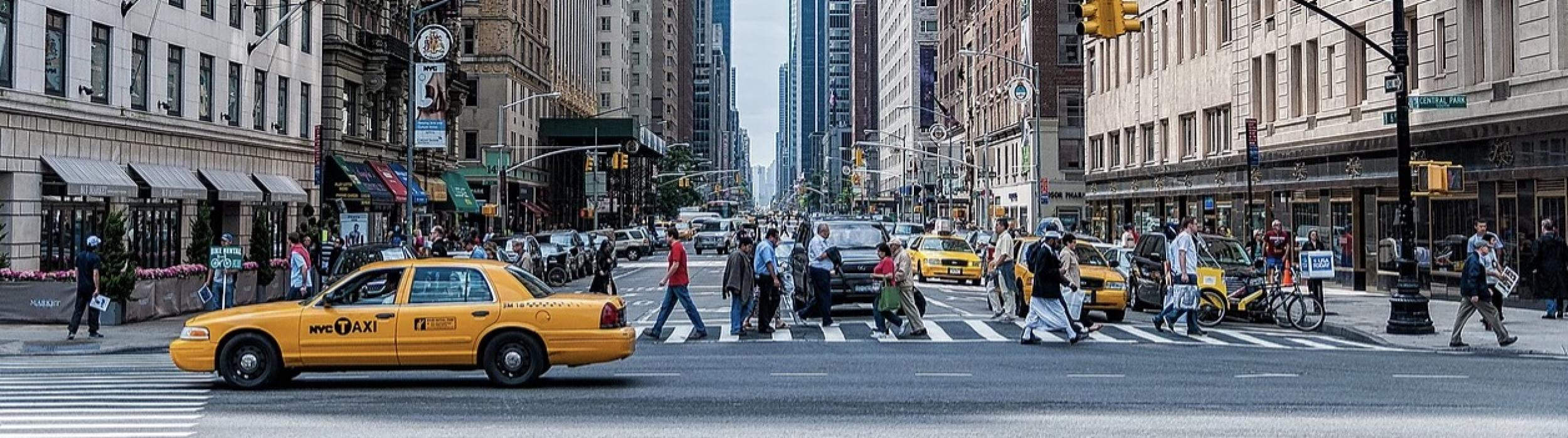 NYC scene with yellow taxi