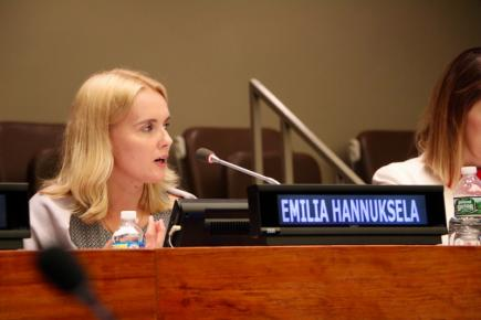 Emilia Hannuksela from UNYA Finland addresses the audience during International Youth Day